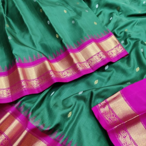 Gadwal Pure Silk Full Bottle green with Pink - GPS927