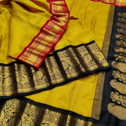 Gadwal Silk Saree With Gangajemuna Border One side Red and gold border & anotherside with Black and golden  GPS-934