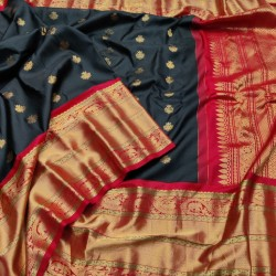 Gadwal Pure Silk Saree with Broad borders .Black body with contrast Red border. GPS 937