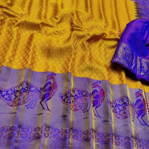 Gadwal Pure Silk Brocade yellow with violet  - GPS953