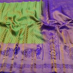 Gadwal Pure Silk Brocade green with violet  - GPS954