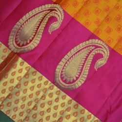 Kanchi Light Weight Trends Desinger Yellow and Pink Silk Sarees